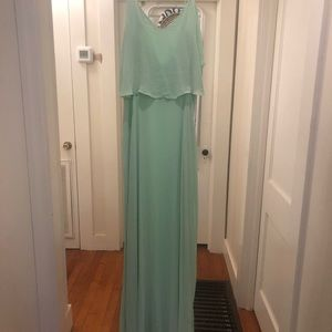 Zara Basic light green chiffon dress